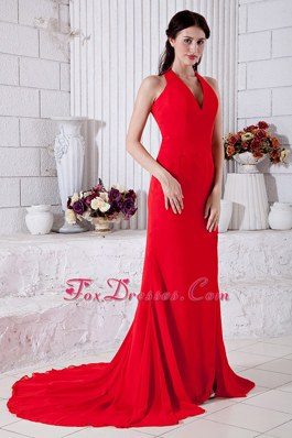 Red High Slit Halter Court Train Celebrity Pageant Dresses