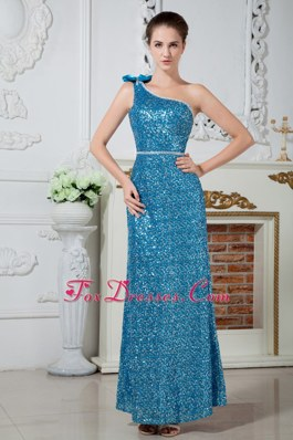 Teal Ankle-length One Shoulder Beading Celebrity Evening Dresses