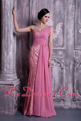 One Shoulder Rose Pink Column Long Appliques Chiffon Prom Celebrity Dresses