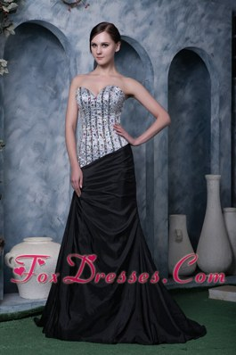 Sweetheart Sliver and Black Beading Celebrity Pageant Dresses