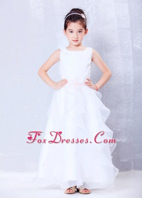 Spring A-line Scoop Long Organza Beading Flower Girl Dress