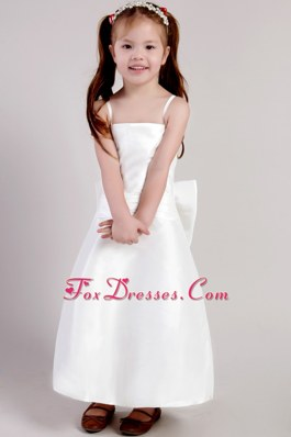 White Bowknot Flower Girl Dress with Spaghetti Straps