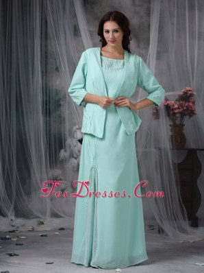 Elegant Turquoise Scoop Chiffon Mother of The Bride Dress