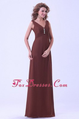 Brown Mother Dress with V Neck and Floor Length