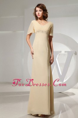 2013 Champagne Mother Of The Bride Dress With Short Sleeves