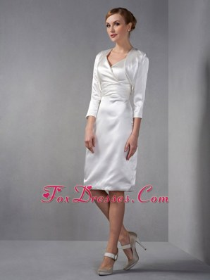White Knee-length Dress for Grooms Mothers with Jacket