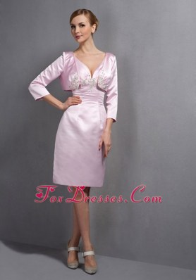 Baby Pink Ruched Bodice Wedding Mother Outfits Knee-length
