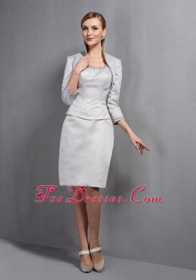 Gray Scoop Knee-length Mother Dress for Wedding With Jacket