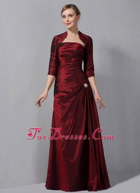 Ruched Wine Red Strapless Mother Skirts Floor-length