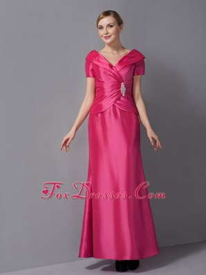 Hot Pink V-neck Ankle-length Mother Dress with Short Sleeves