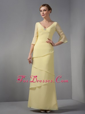 34 Sleeves V-neck Ankle-length Mother Dress With Layered Bottom