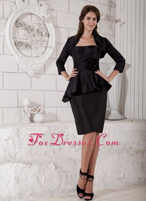 Strapless Knee-length waist-defining peplums Mother Dress Black