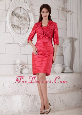 Red Sleeve Knee-length Mother Bride Guests Dress with Ruching
