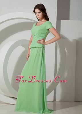Apple Green Scoop Brush Wedding Outfits for Groom Mother Sleeved