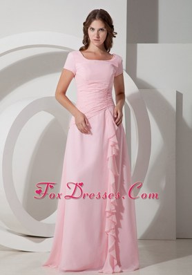 Baby Pink Square Floor-length Mother Dress with Flounced Skirt