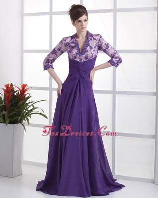 Lace Beading V-neck Purple 2013 Prom Dress with Brush Train