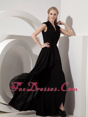 Black Column V-neck Chiffon Mother of the Bride Dress