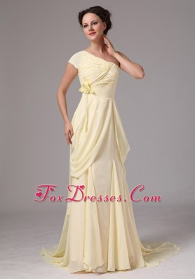 One Shoulder Chiffon Yellow Mother of the Bride Dress