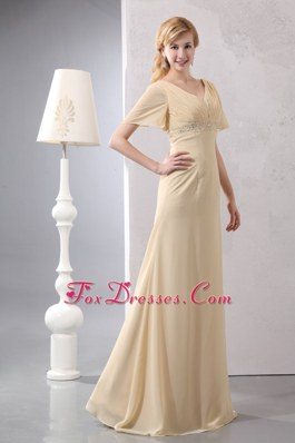 Light Yellow Empire V-neck Mother of the Bride Dress