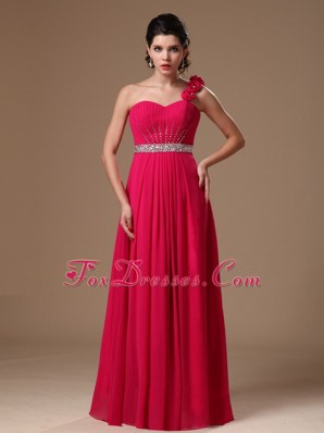 Discounted One Shoulder Coral Red Beaded Prom Dress
