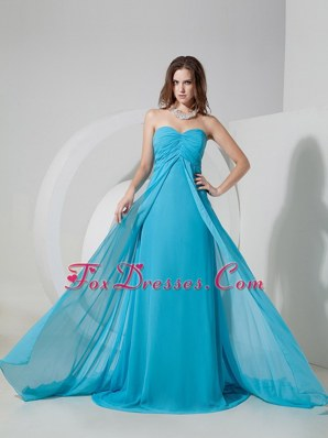 Aqua Blue Empire Chiffon Cheap Ruch Prom Dress Brush