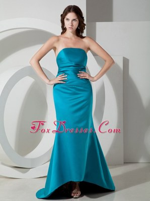 Cheap Teal Column Strapless Bridesmaid Dress