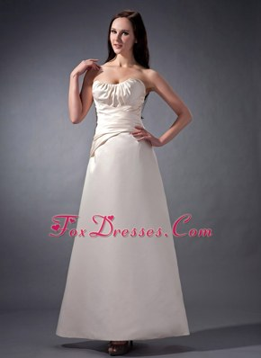Off White Cheap Strapless Satin Bridesmaid Dress