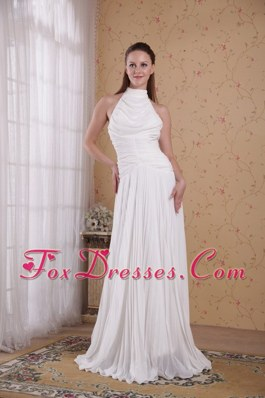 High-neck Peekaboo Holes Pleated White Prom Dresses