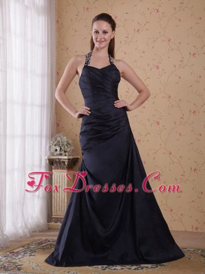 Navy Blue Halter Top Beading For Cheap Prom Dress