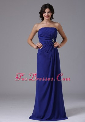 Blue Ruching Strapless For Cheap Prom Gown