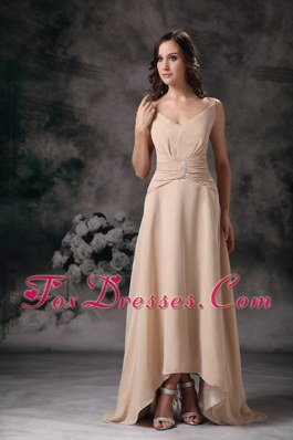 Cheap Beaded Spaghetti Straps Champagne Prom Dress