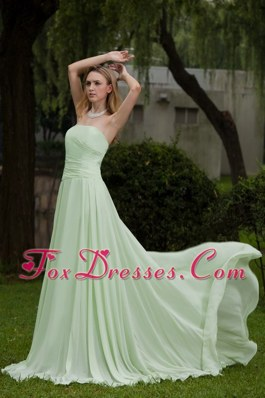 Yellow Green Strapless Empire Chiffon Cheap Prom Gown