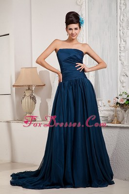 Strapless Green Princess Cheap Ruching Prom Gown