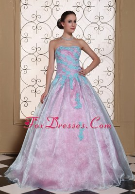 Cheap Appliques Long Strapless Quinceanera Dress 2013