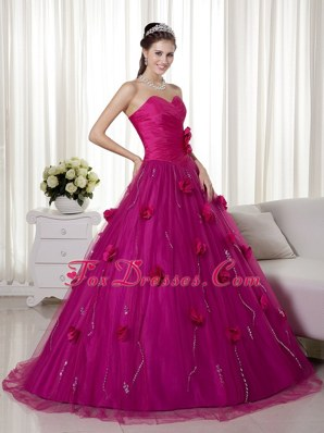 Fuchsia Cheap Quinceanera Gown Dress Sweetheart Brush Train