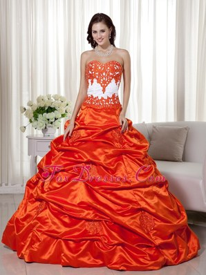 Orange Red Taffeta Cheap Appliques Quinceanera Sweet 16 Dress
