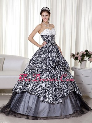 Luxurious A-line Cheap Zebra Organza Ruch Quinceanera Dress