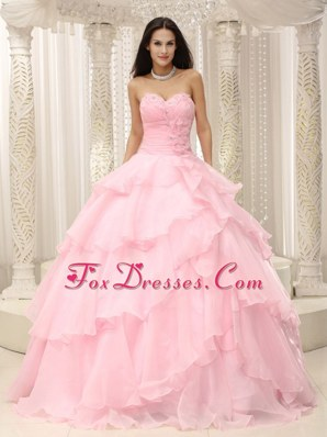 Baby Pink Ruched Bodice Cheap Waist Quinceanera Dress