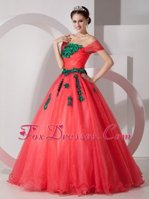 Cheap Coral Red Floor-length Organza Appliques Prom Dress