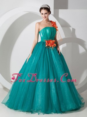 Teal A-line Cheap One Shoulder Organza Floral Prom Dress