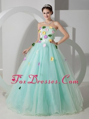 Apple Green Cheap Quinceanera Dress A-line Strapless Organza