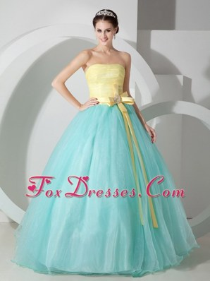 Aqua Blue Yellow Cheap Quinceanera Dress Strapless Sash