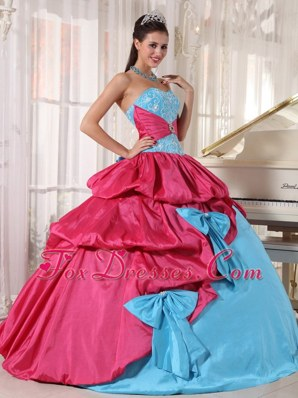 Cheap Aqua Blue and Hot Pink Sweetheart Quinceanera Dress