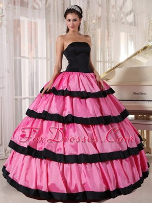 Rose Pink Cheap Quinceanera Dress Black Strapless Taffeta