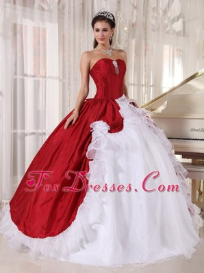 Red White Cheap Sweetheart Organza Quinceanera Dress