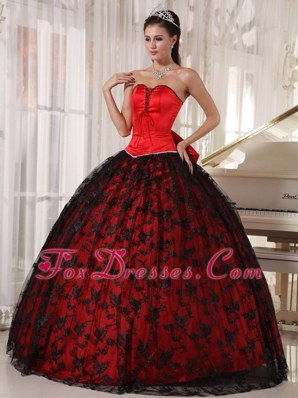 Cheap Red Sweetheart Tulle Taffeta Lace Quinceanera Dress