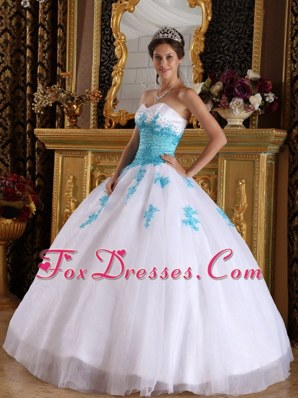 White Blue Beautiful Cheap Sweetheart Appliques Organza