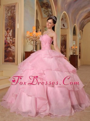 Cheap Pink Sweetheart Organza Beading Quinceanera Dress