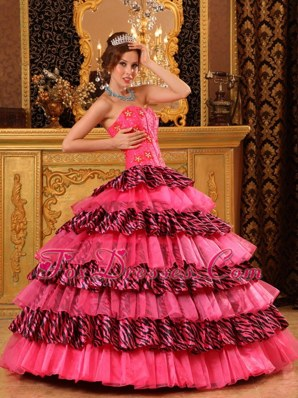 Cheap Sweetheart Zara Print Pink Quinceanera Dress with Beading