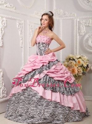 Zebra Pink Strapless Cheap Ball Gown Beading Quinceanera Dress
